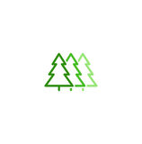 Isolated abstract green color leaves linear vector logo. Unusual trees illustration. Natural elements sign. Organic Royalty Free Stock Photography