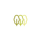 Isolated abstract green color leaves linear vector logo. Unusual trees illustration. Natural elements sign. Organic Royalty Free Stock Images