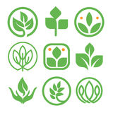 Isolated abstract green color logo collection. Round shape nature element logotype set. Leaf in human hand icon. Agricultural organic products signs. Healing Royalty Free Stock Image