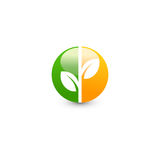 Isolated abstract green and orange color round shape logo. Leaf logotype. Natural cosmetics icon. Eco system element Stock Photography