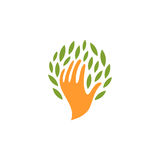 Isolated abstract human hand with leaves logo. People and nature logotype. Save plants icon. Eco products sign. Organic Stock Photos