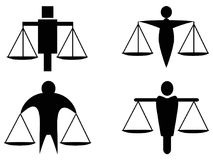 Abstract man holding scales justice icon logo stock illustration