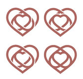 Isolated abstract monoline heart logo set. Love logotypes collection  Royalty Free Stock Photo