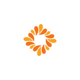 Isolated abstract orange color logo. Rhombus shape logotype. Flower petals icon. Floral decorative sign. Nature element Royalty Free Stock Photography