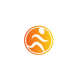 Isolated abstract orange color running man logo. Human silhouette in motion logotype. Sport icon. Fitness sign. Jogging Royalty Free Stock Photography