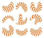 Isolated abstract orange and white logo set of wavy lines, curve shape striped logotype collection vector illustration Stock Image