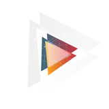 Isolated abstract pink and orange color triangle logo on black background, geometric triangular shape logotype of Stock Photos