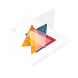 Isolated abstract pink and orange color triangle logo on black background, geometric triangular shape logotype of Stock Photography
