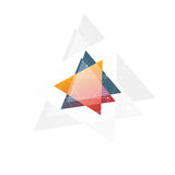 Isolated abstract pink and orange color triangle logo on black background, geometric triangular shape logotype of Royalty Free Stock Image