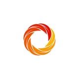 Isolated abstract red,orange,yellow circular sun logo. Round shape logotype. Swirl, tornado and hurricane icon. Spining Stock Photos