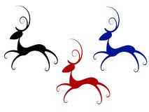 Isolated Abstract Reindeer Clip Art. A clip art illustration of your choice of 3 abstract looking reindeer in red, blue and black isolated on white Royalty Free Illustration