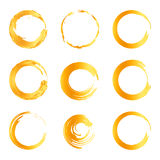 Isolated abstract round shape orange color logo collection, sun logotype set, geometric circles vector illustration.  Royalty Free Illustration