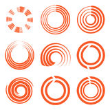 Isolated abstract round shape orange color logo collection, sun logotype set, geometric circles vector illustration. Isolated abstract round shape orange color royalty free illustration