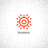 Isolated abstract round shape orange color logo, sun logotype vector illustration on a background of dots. Stock Photos