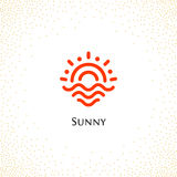 Isolated abstract round shape orange color logo , sun logotype vector illustration on a background of dots. Stock Photos