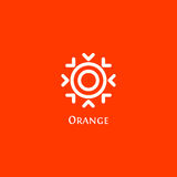 Isolated abstract round shape orange color logo, sun logotype vector illustration on a red background Royalty Free Stock Photos