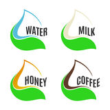 Isolated abstract water,milk,honey,coffee drops in green fresh leaf logo set. Natural products logotype collection Royalty Free Stock Photos