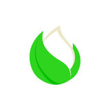 Isolated abstract white drop of milk in green fresh leaf logo. Dairy products logotype. Sour cream or kefir icon Stock Images
