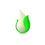 Isolated abstract white drop of milk in green fresh leaf logo. Dairy products logotype. Sour cream or kefir icon Royalty Free Stock Images