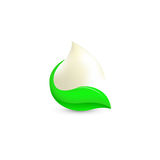 Isolated abstract white drop of milk in green fresh leaf logo. Dairy products logotype. Sour cream or kefir icon Stock Image