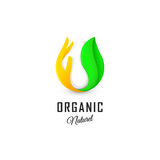 Isolated abstract white drop of milk in green fresh leaf and orange palm logo. Dairy products logotype. Sour cream or Royalty Free Stock Photos