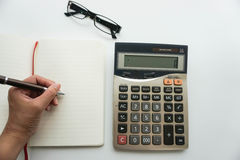 Isolated accountant work on budget with calculator Stock Images