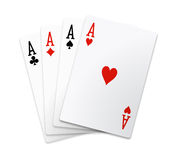 Isolated Aces Square. (poker cards Royalty Free Stock Photos