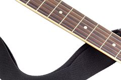 Isolated acoustic guitar fingerboard. Close-up isolated acoustic guitar fingerboard Stock Photos