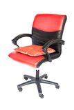 Isolated adjustable leather chair with pillow Stock Photo