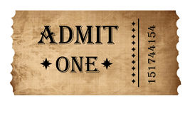 Isolated admit one ticket Royalty Free Stock Photos