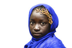 Isolated African Little School Girl Portrait Outdoors with Blue Royalty Free Stock Photos