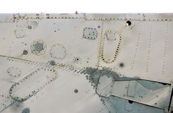 Isolated aircraft metal surface with aluminum and rivets Stock Photo
