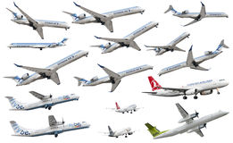 Isolated airplanes of European companies stock photo