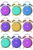 Isolated Alarm clock with Beautiful colors on a white background with clipping path stock images