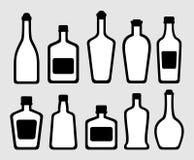 Isolated alcohol bottles set Stock Image