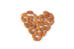 Isolated almond heart Royalty Free Stock Photography