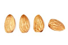 Isolated almonds Stock Images