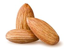 Isolated almonds. Royalty Free Stock Photos