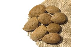 Isolated Almonds on the linen fabric royalty free stock photo
