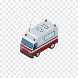 Isolated Ambulance Isometric. First-Aid    Vector Element Can Be Used For Ambulance, Aid, Car Design Concept. First-Aid    Vector Element Can Be Used For Stock Photos