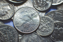 Isolated american coins background Stock Photo