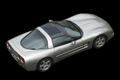 Isolated american sportscar on black background. From above royalty free stock photo