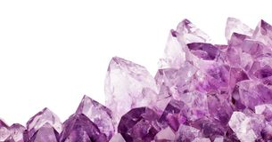 Isolated amethyst light transperent crystals Royalty Free Stock Photo