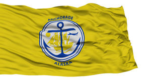 Isolated Anchorage City Flag, United States of America. Isolated Anchorage City Flag, City of Alaska State, Waving on White Background, High Resolution Royalty Free Stock Photos