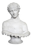 Isolated ancient bust of a beautiful lady. Bust of a beautiful lady isolated on white with clipping path Royalty Free Stock Image