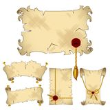 Isolated ancient parchment scroll banners Royalty Free Stock Photos