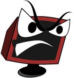 Isolated angry computer cartoon Royalty Free Stock Photography
