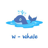 Isolated animal alphabet for the kids,W for Whale Royalty Free Stock Photo