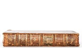 Isolated Antique Book. Old Book lying down flat isolated by white Stock Photo