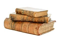 Isolated Antique Book. Old Book lying down flat isolated by white Stock Photography